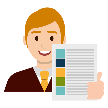 businessman avatar with financial document vector illustration Banque d'images - 112067277