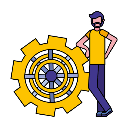 young man with gear machine isolated icon vector illustration design Illustration