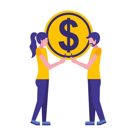 young couple with coin dollar isolated icon vector illustration design Illustration