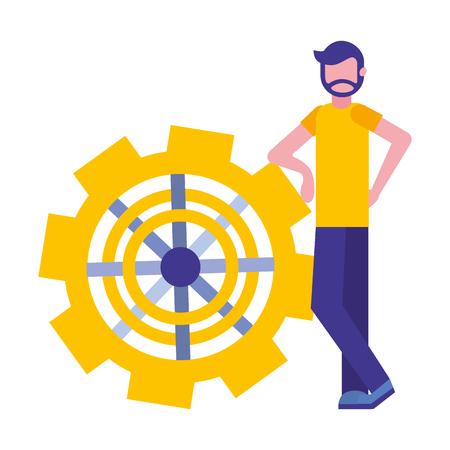 Giovane uomo con macchina ad ingranaggi isolato icona illustrazione vettoriale design