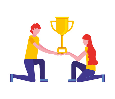 couple with trophy award cup isolated icon vector illustration design Illustration