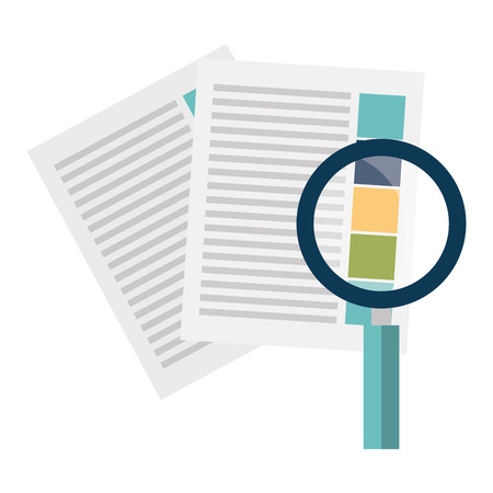 documents with magnifying glass vector illustration design Ilustração