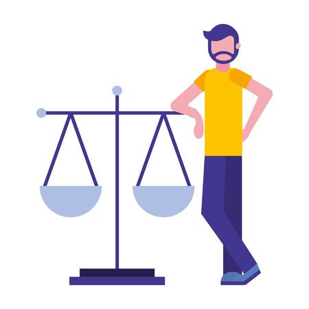 Hombre joven con diseño de ilustración de vector de icono aislado de balanza