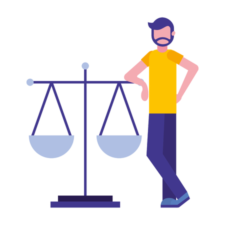 young man with balance scale isolated icon vector illustration design Banque d'images - 112067300