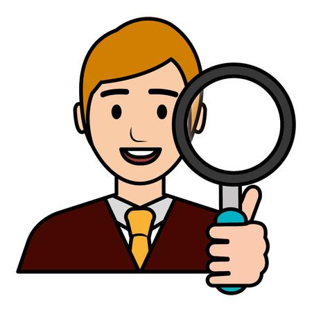 businessman with magnifying glass vector illustration design Banque d'images - 112067309