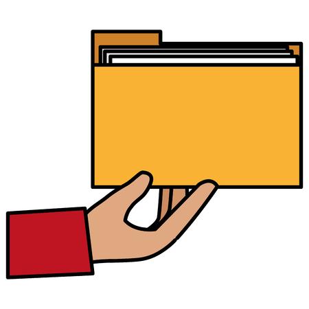 hand with file folder vector illustration design Illustration