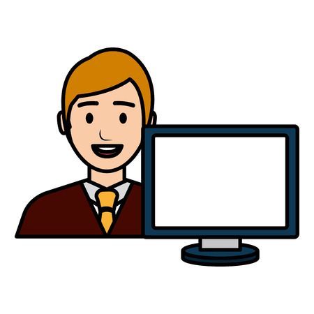 businessman with computer avatar vector illustration design Banque d'images - 112067318