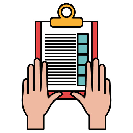 hand with checklist clipboard vector illustration design