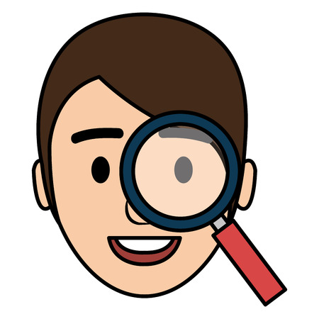 businessman head with magnifying glass vector illustration design Banque d'images - 112067328