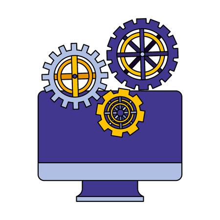 Monitorare il computer con la progettazione dell'illustrazione di vettore della macchina degli ingranaggi impostati