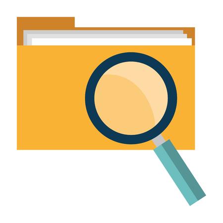file folder with magnifying glass vector illustration design Ilustração