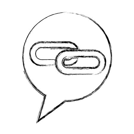 link chain speech bubble vector illustration hand drawing Illustration