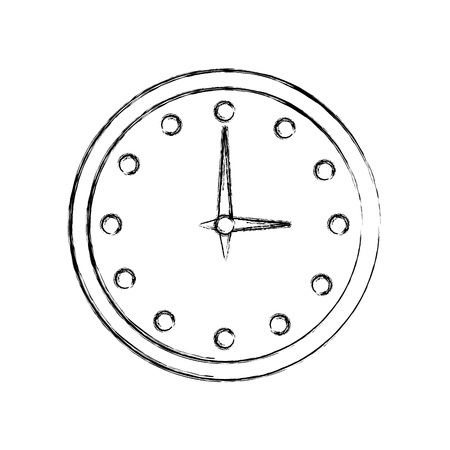 round clock time hour accessory vector illustration hand drawing