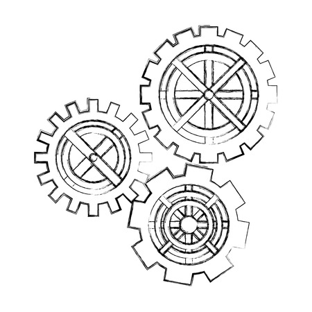 gears cogwheel teamwork collaboration metaphor vector illustration hand drawing Stock Illustratie