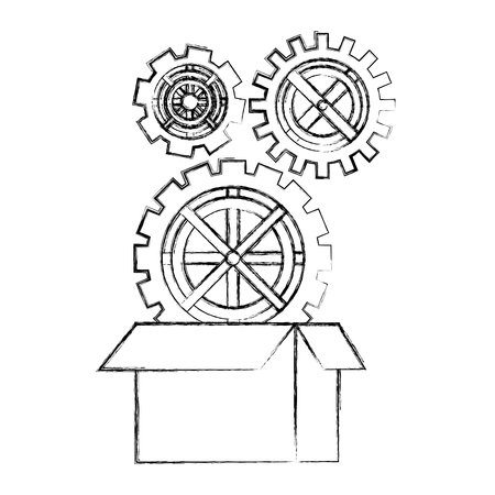 gears in the cardboard box work vector illustration hand drawing