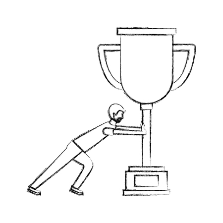 business man pushing trophy award vector illustration hand drawing