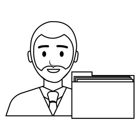 businessman avatar with folder character vector illustration design Banque d'images - 112067375