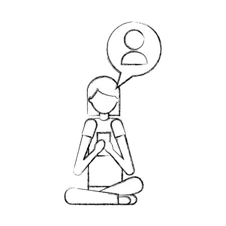 woman using smartphone chatting man vector illustration hand drawing