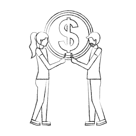man and woman holding big coin dollar business vector illustration hand drawing