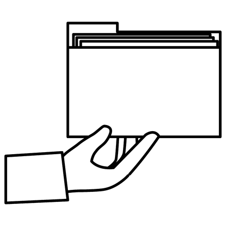 hand with file folder vector illustration design