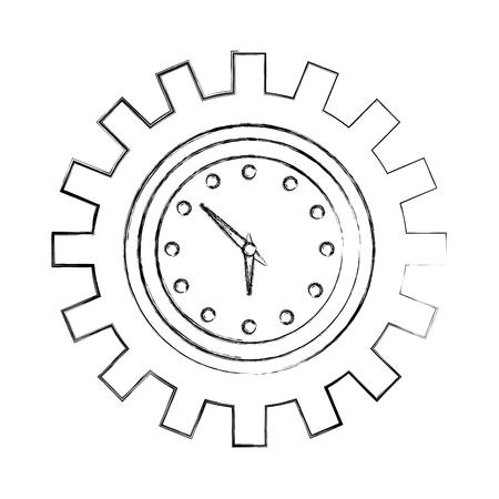Horloge à engrenage dessin à main illustration vectorielle mécanique