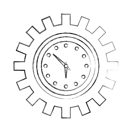 La hora del reloj en el engranaje mecánico ilustración vectorial dibujo a mano
