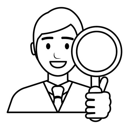 businessman with magnifying glass vector illustration design Banque d'images - 112067392