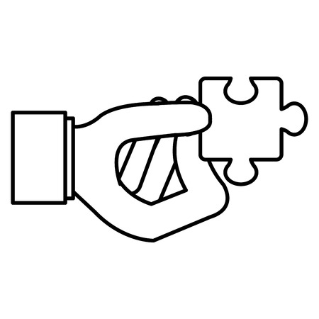 hand with puzzle game piece vector illustration design Illusztráció