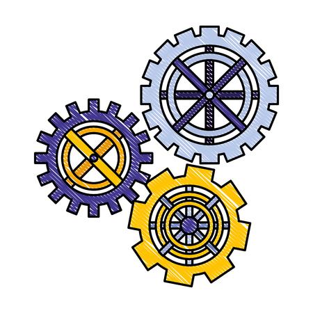 Ingranaggi ruota dentata lavoro di squadra collaborazione metafora illustrazione vettoriale disegno color