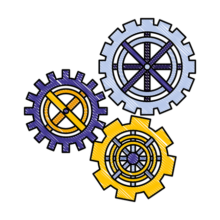 gears cogwheel teamwork collaboration metaphor vector illustration drawing color