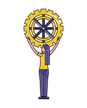 businesswoman holding gear work mechanic vector illustration drawing color
