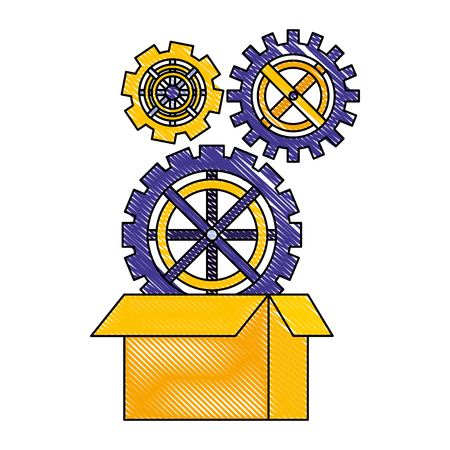 gears in the cardboard box work vector illustration drawing color