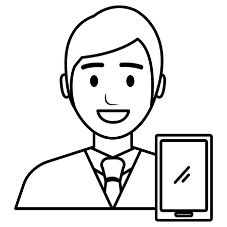 businessman with smartphone avatar character vector illustration Banque d'images - 106213558