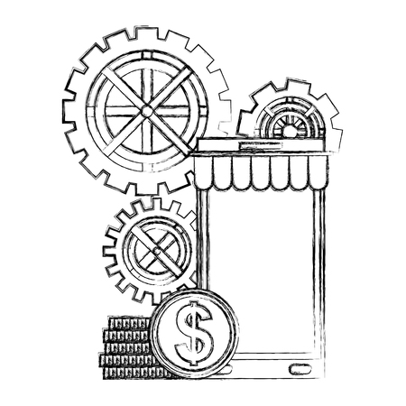 smartphone gears mechanic and coins money vector illustration hand drawing
