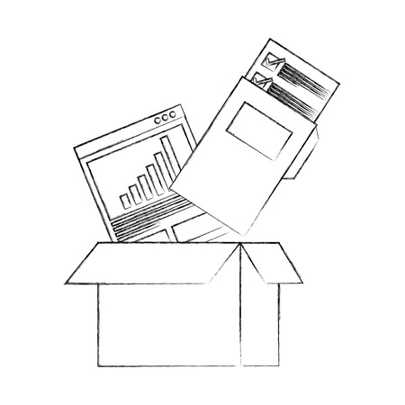 cardboard box folder file report documetns vector illustration hand drawing