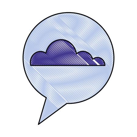 cloud weather speech bubble vector illustration drawing color Иллюстрация