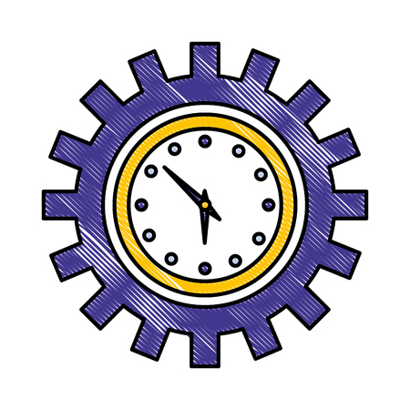 clock time in to gear mechanic vector illustration drawing color