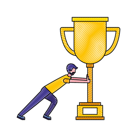 business man pushing trophy award vector illustration drawing color Ilustração