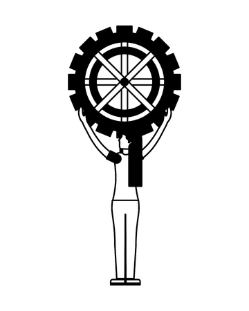 young woman with gear machine isolated icon vector illustration design