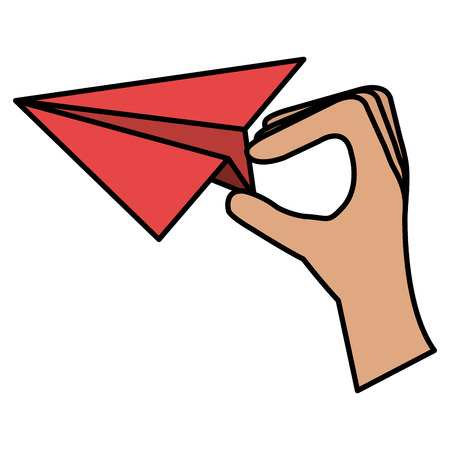 hand with paper airplane vector illustration design Çizim