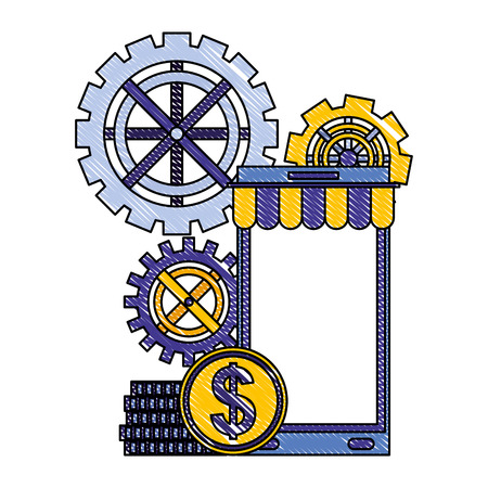 smartphone gears mechanic and coins money vector illustration drawing color Illustration