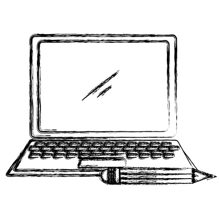 laptop computer with pencil vector illustration design
