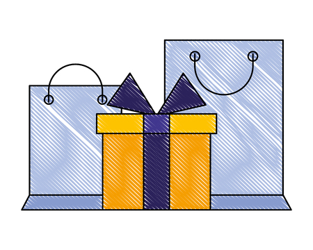 shopping bags and gift box online vector illustration drawing color