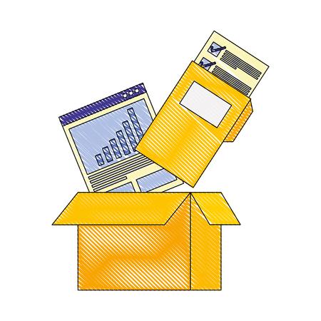 cardboard box folder file report documetns vector illustration drawing color