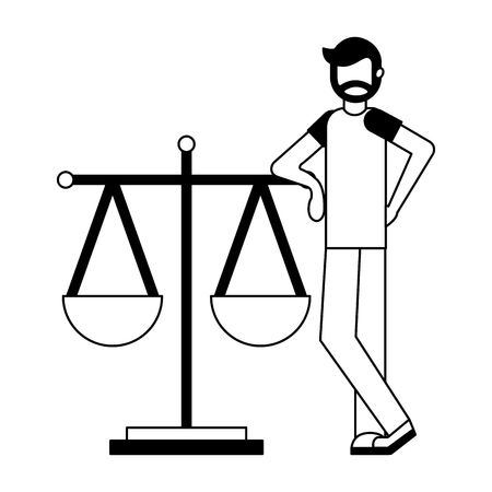 young man with balance scale isolated icon vector illustration design