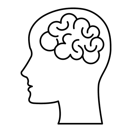 brain storming with head profile vector illustration design Illustration