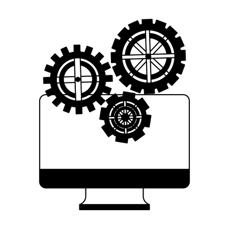monitor computer with set gears machine vector illustration design Иллюстрация
