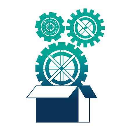 set gears machine with box carton isolated icon vector illustration design