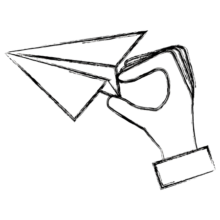 hand with paper airplane vector illustration design Illustration