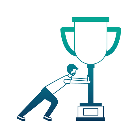 young man pushing trophy avatar character vector illustration design Ilustração
